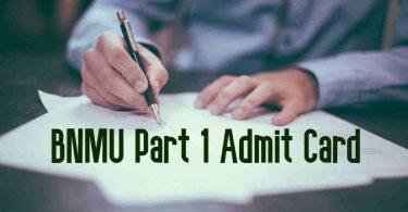 BNMU Part 1 Admit Card