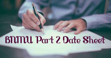 BNMU Part 2 Exam Date Sheet